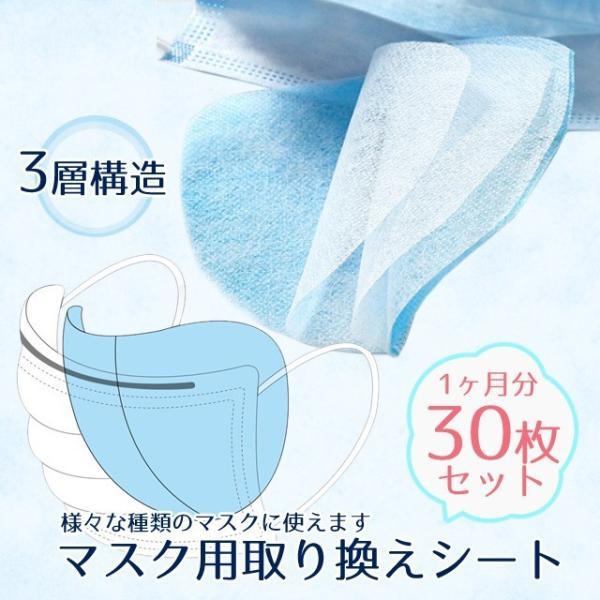 【予約4月10日入荷】マスクシート 取り換えシート 安い ウィルス対策 三層 3層 30枚 セット マスク フィルター フィルターシート /メール便送料無料|eito