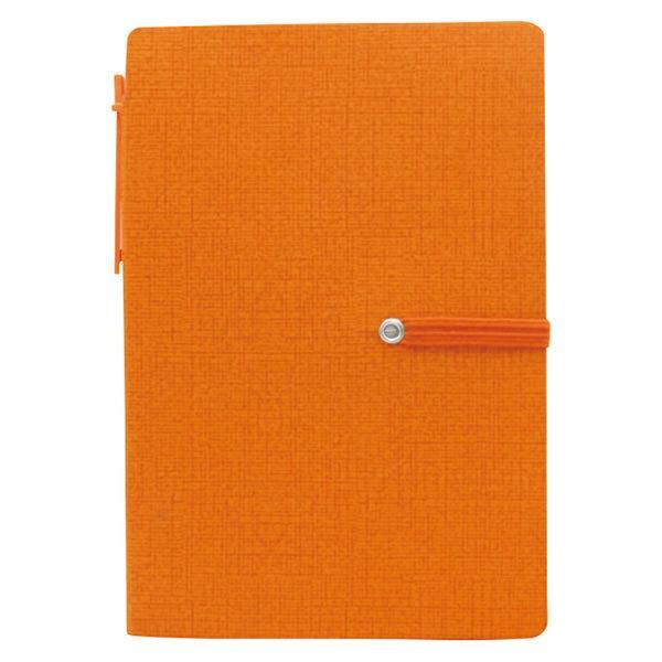 PVCカバーノートA6(付箋付) オレンジ S3081【代引不可】【同梱不可】【ノベルティ館】