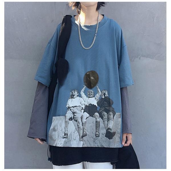 長袖 トップス レディース Tシャツ ヒップホップ 偽二つ服 oversize カジュアル ロング丈 体型カバー tシャツ プリント 秋新作 オーバーサイズ|ejej-shopping|10