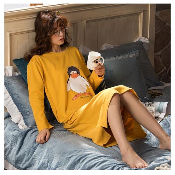 パジャマ ルームウェア ワンピース ロング レディース 寝巻き 部屋着 体型カバー ソフト 長袖 可愛い 女性 新作|ejej-shopping|11