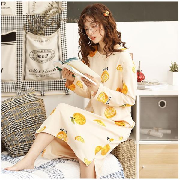 パジャマ ルームウェア ワンピース ロング レディース 寝巻き 部屋着 体型カバー ソフト 長袖 可愛い 女性 新作|ejej-shopping|13