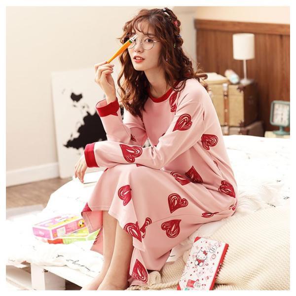 パジャマ ルームウェア ワンピース ロング レディース 寝巻き 部屋着 体型カバー ソフト 長袖 可愛い 女性 新作|ejej-shopping|16