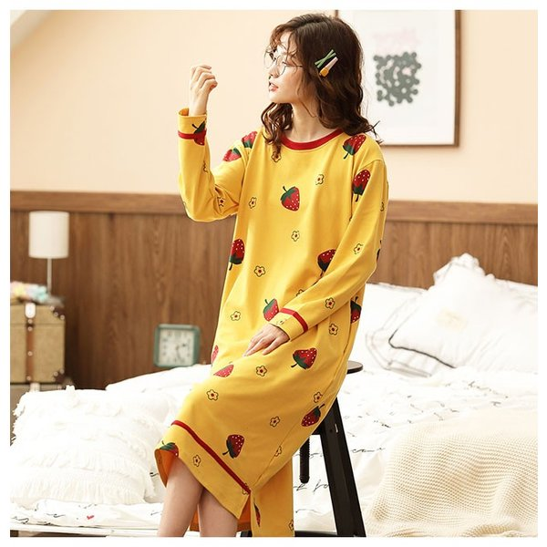 パジャマ ルームウェア ワンピース ロング レディース 寝巻き 部屋着 体型カバー ソフト 長袖 可愛い 女性 新作|ejej-shopping|05