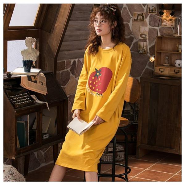 パジャマ ルームウェア ワンピース ロング レディース 寝巻き 部屋着 体型カバー ソフト 長袖 可愛い 女性 新作|ejej-shopping|07