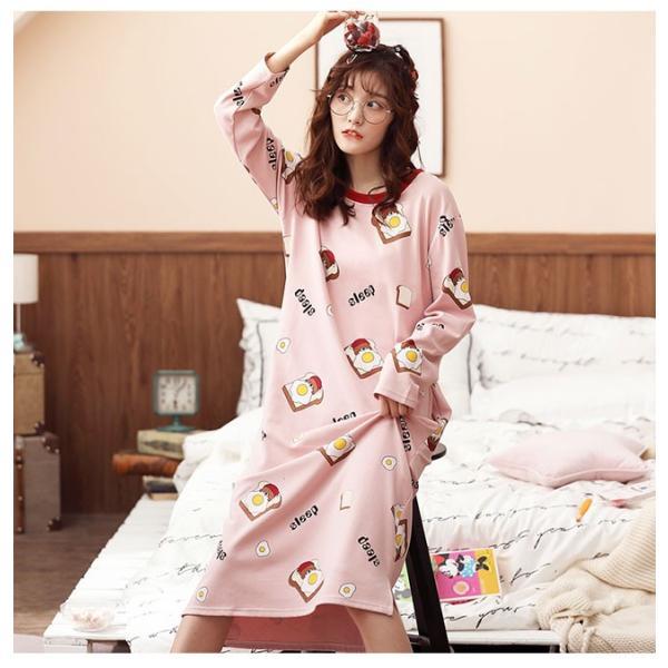 パジャマ ルームウェア ワンピース ロング レディース 寝巻き 部屋着 体型カバー ソフト 長袖 可愛い 女性 新作|ejej-shopping|10