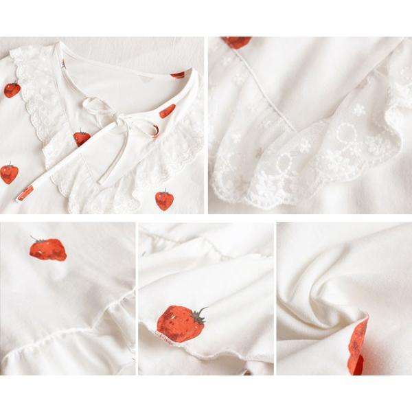 パジャマ ルームウェア ワンピース レディース すそひだ イチゴ 長袖 可愛い 寝巻き 部屋着 体型カバー ソフト 新作|ejej-shopping|12
