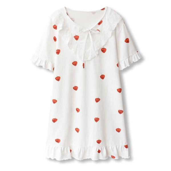 パジャマ ルームウェア ワンピース レディース すそひだ イチゴ 長袖 可愛い 寝巻き 部屋着 体型カバー ソフト 新作|ejej-shopping|10