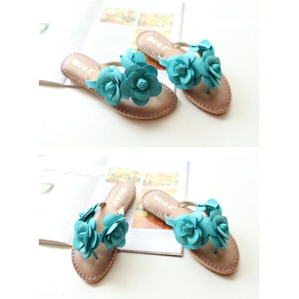 ビーチサンダル レディース サンダル ミュール スリッパ 花柄 フラワー 靴 シューズ 歩きやすい かわいい 春夏 美脚 旅行