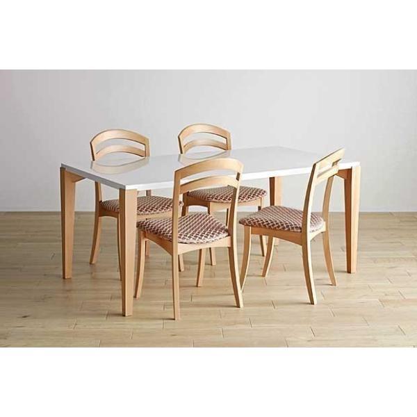 シャム Dテーブル140HB/UG+肘付椅子4脚 W1410×D860×H700 GUV塗装ヒッコリーブラック 張生地ラムース 受注生産Siamese ekaguya 14