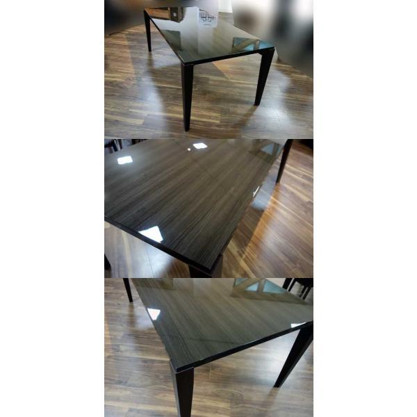 シャム Dテーブル140HB/UG+肘付椅子4脚 W1410×D860×H700 GUV塗装ヒッコリーブラック 張生地ラムース 受注生産Siamese ekaguya 07