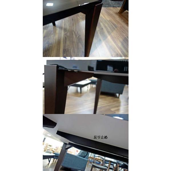 シャム Dテーブル140HB/UG+肘付椅子4脚 W1410×D860×H700 GUV塗装ヒッコリーブラック 張生地ラムース 受注生産Siamese ekaguya 08