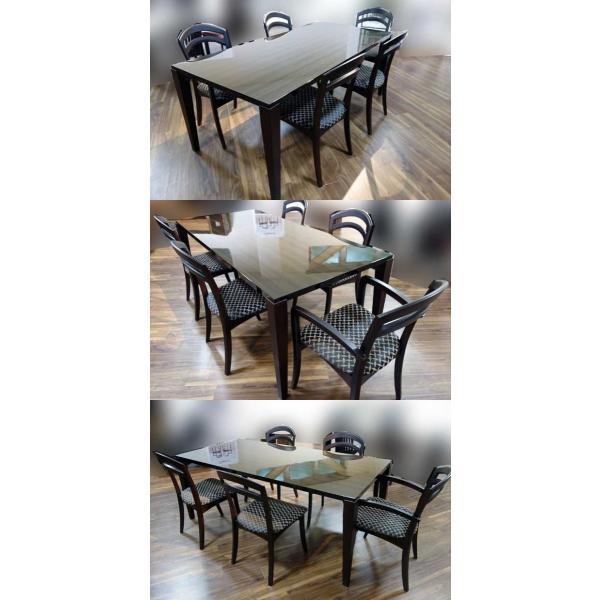 シャム Dテーブル140HB/UG+肘付椅子4脚 W1410×D860×H700 GUV塗装ヒッコリーブラック 張生地ラムース 受注生産Siamese ekaguya 09