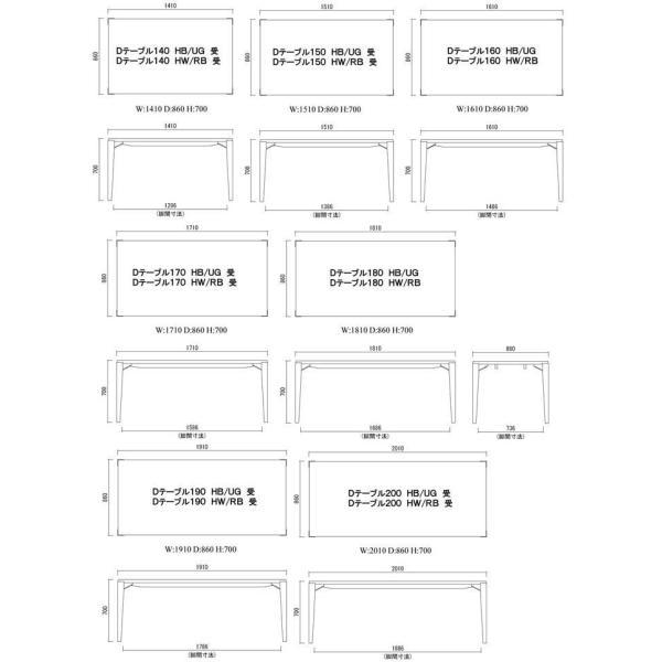 シャム Dテーブル160HB/UG+椅子6脚 W1610×D860×H700 GUV塗装ヒッコリーブラック 張生地パッカー 受注生産Siamese|ekaguya|17