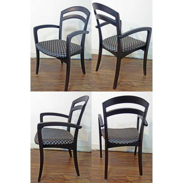 シャム Dテーブル170HB/UG+肘付椅子4脚 W1710×D860×H700 GUV塗装ヒッコリーブラック 張生地パッカー 受注生産Siamese ekaguya 11