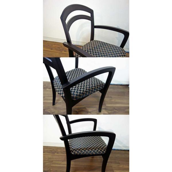 シャム Dテーブル170HB/UG+肘付椅子4脚 W1710×D860×H700 GUV塗装ヒッコリーブラック 張生地パッカー 受注生産Siamese ekaguya 12