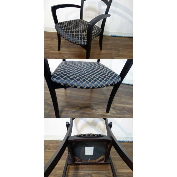 シャム Dテーブル170HB/UG+肘付椅子4脚 W1710×D860×H700 GUV塗装ヒッコリーブラック 張生地パッカー 受注生産Siamese ekaguya 13