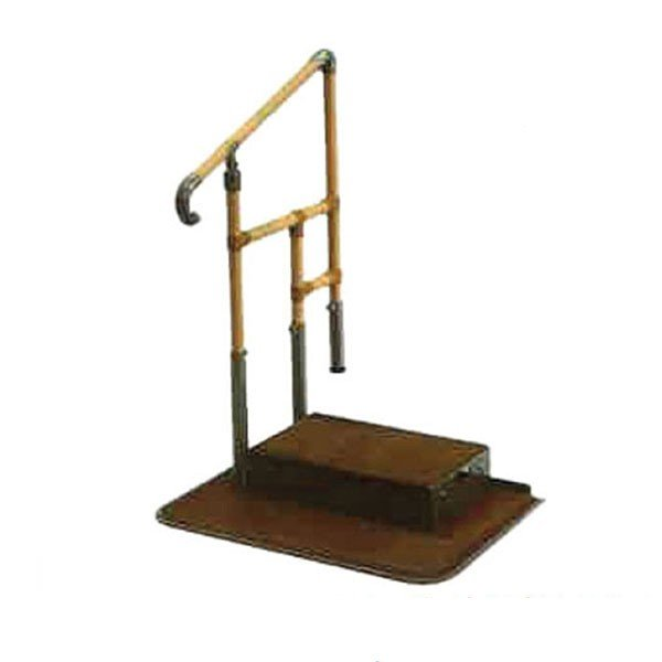 あがりかまち用 たちあっぷ 片手すり CKE-02 ステップ台付 矢崎化工 (玄関 手すり付き 踏み台 階段 昇降台 昇降 転倒防止) 介護用品