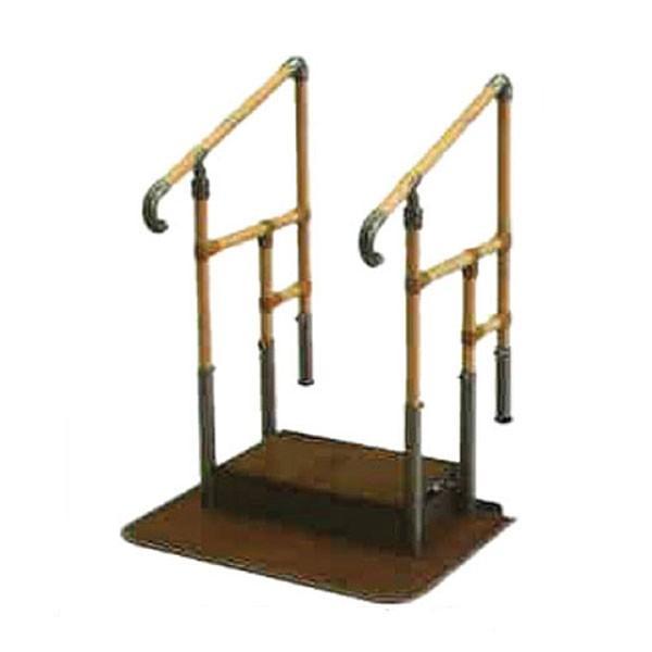 あがりかまち用 たちあっぷ 両手すり CKE-01 ステップ台付 矢崎化工 (玄関 手すり付き 踏み台 階段 昇降台 昇降 転倒防止) 介護用品
