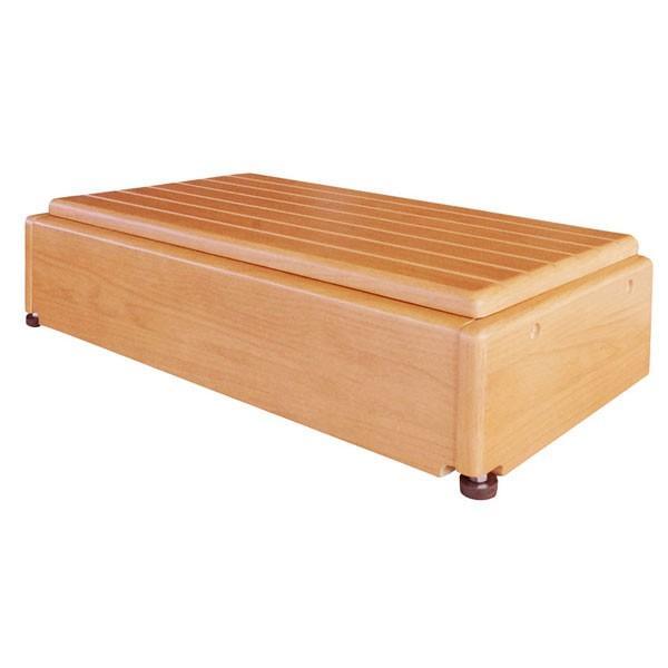 玄関台(木製) 昇降60W-30 640-060 (幅60×奥行30×高さ15〜22.5cm・4段階)  シコク (玄関 踏み台 木製 転倒防止 ステップ)