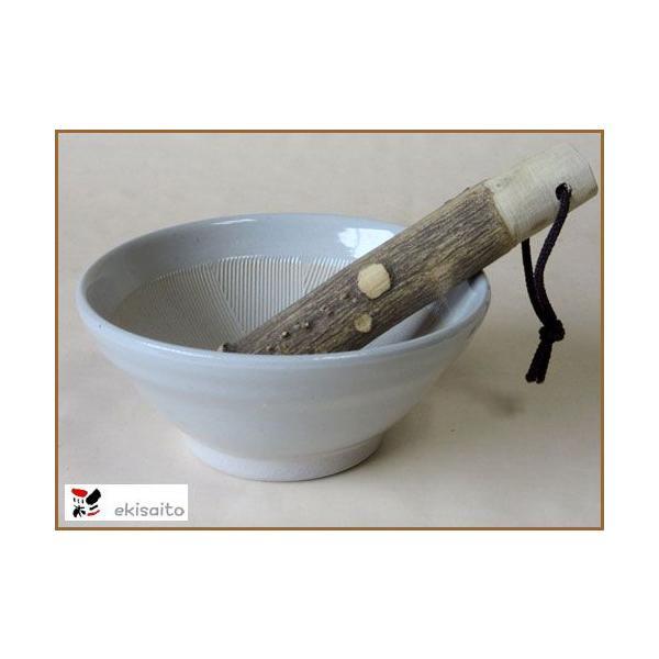 すり鉢 古染 4号 土物 12.5cm 山椒 すりこぎ付<BR>国産 業務用 調理器具 食器