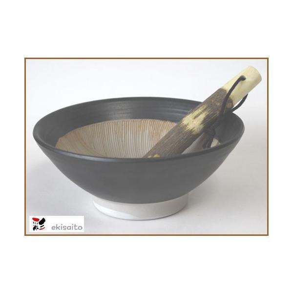すり鉢 波紋 6号 粋な黒 山椒すりこぎ付 国産 業務用 調理器具 食器