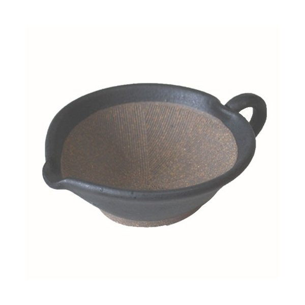 すり鉢 黒マット手付き 4号 片口 ごまだれ用 国産 業務用 食器