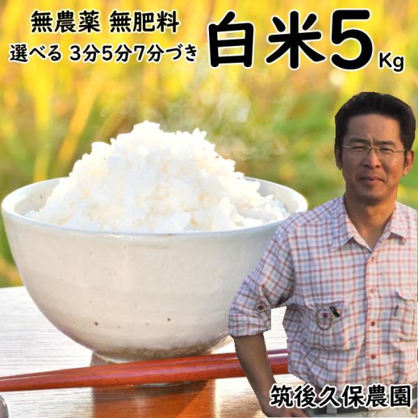 無農薬 無肥料 栽培米 5Kg | 選べる 白米 分づき 福岡県産 夢つくし 筑後久保農園