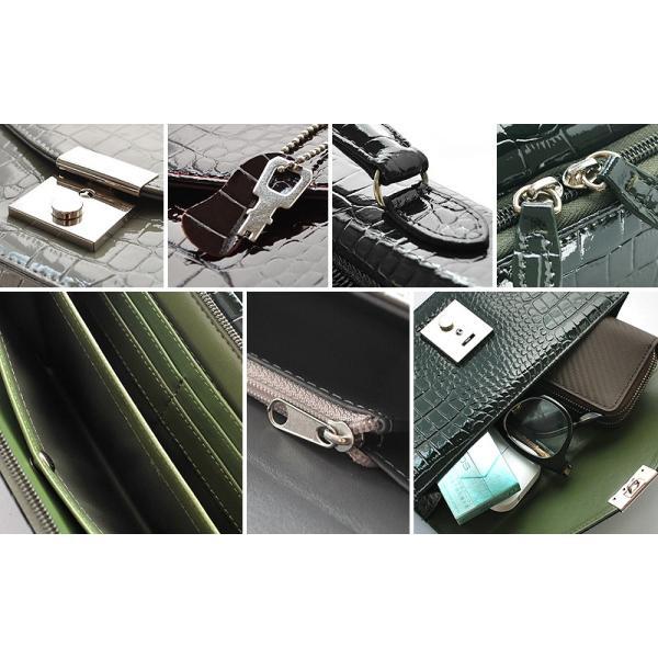 セカンドバッグ メンズ エナメル 軽量 クロコ型押し 革 紳士 セパレート ハンドバッグ KT-517|el-diablo|04