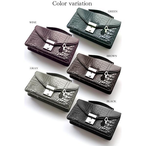 セカンドバッグ メンズ エナメル 軽量 クロコ型押し 革 紳士 セパレート ハンドバッグ KT-517|el-diablo|05