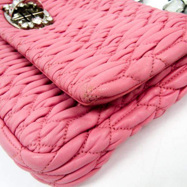 ミュウミュウ マトラッセ ナッパ クリスタル 5BD233 レディース レザー クラッチバッグ,ショルダーバッグ ピンク