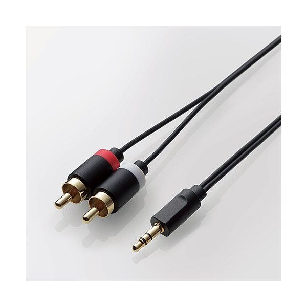 エレコム オーディオ用 ケーブル(3.5φステレオミニ-RCAピンプラグ×2) ブラック 50cm┃DH-MWRN05