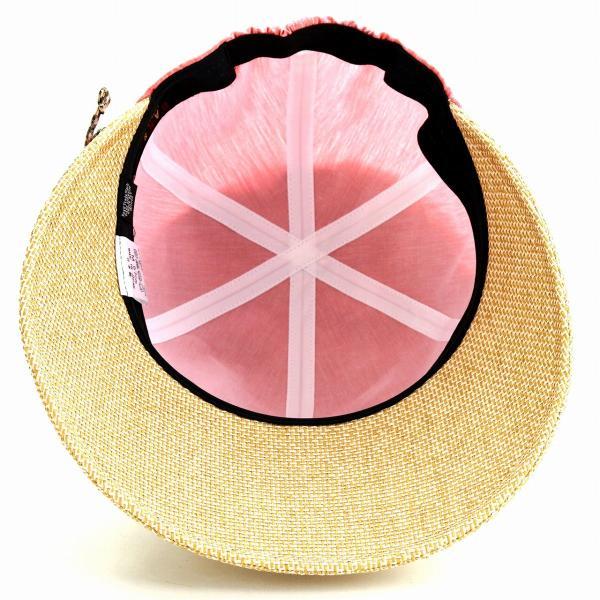 ジョッキー DAKS レディース 紫外線対策 ダックス 春夏 ツバ広 帽子 麻 シャンブレー UV キャップ かわいい 後ろゴム入り 日よけ オレンジ ピンク系