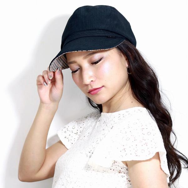 レディースキャスケット春夏春夏ダックスシャンブレーツイルDAKS日よけ帽子サイズ調整 日本製黒ブラック