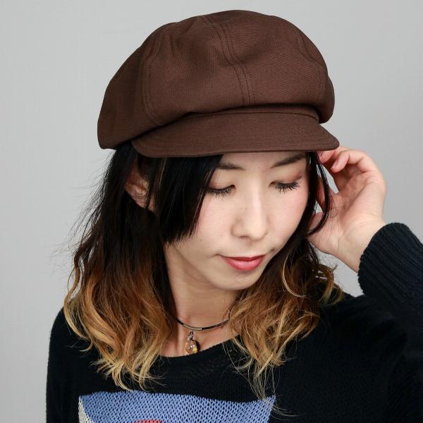 国産オックス8方キャスケットメンズレディース帽子コットン100%秋冬フリーサイズブラウン茶