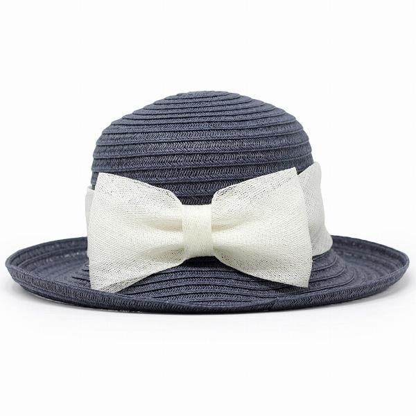 つば広 可愛い セーラーハット ペーパーブレード 麦わら帽子 春 夏 レディース 帽子 リボン シナマイ GALLIANO SORBATTI イタリア製 ネイビー 紺