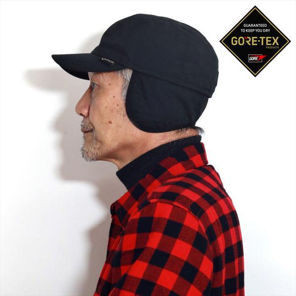 ゴアテックスキャンプ帽子高機能キャップ防水耐水メンズアウトドア防寒耳当て防寒着帽子ゴットマン黒キャップ登山帽子ブラック