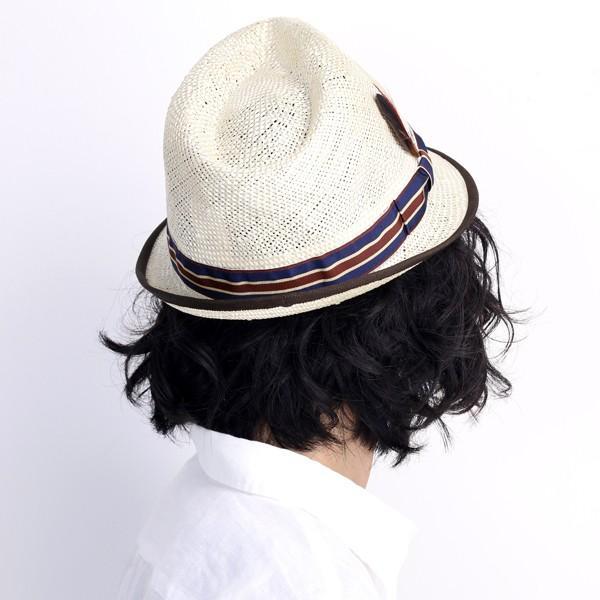 ストローハット 帽子 ハット レディース 春夏 小つば クラッシュ加工 麻 ネイビー
