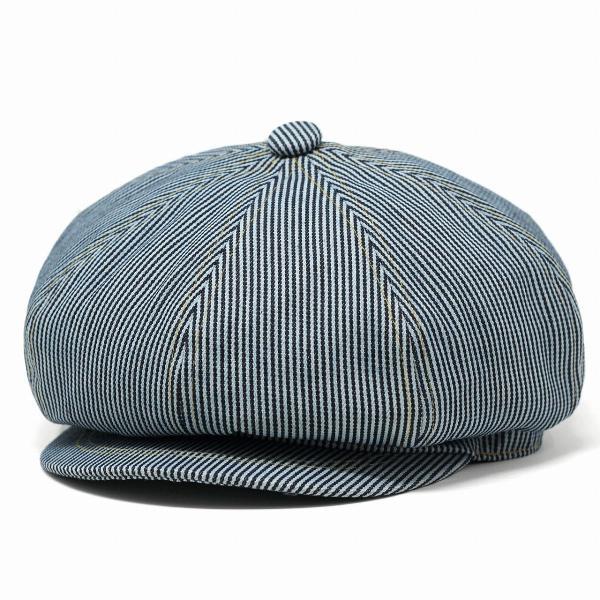 ヒッコリーデニムボリュームキャスケットメンズレディース帽子ニュースボーイキャップ8枚はぎRUBENサイズ調整フリーサイズヒッコリ