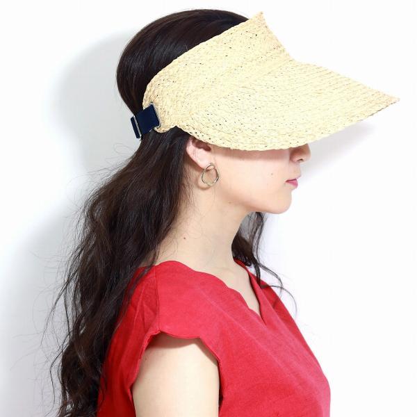 ラフィア ブレード サンバイザー 婦人帽子 麦わら帽子 バイザー 春夏 日よけ 天然草 モデリア レディース 春 夏 帽子 生成