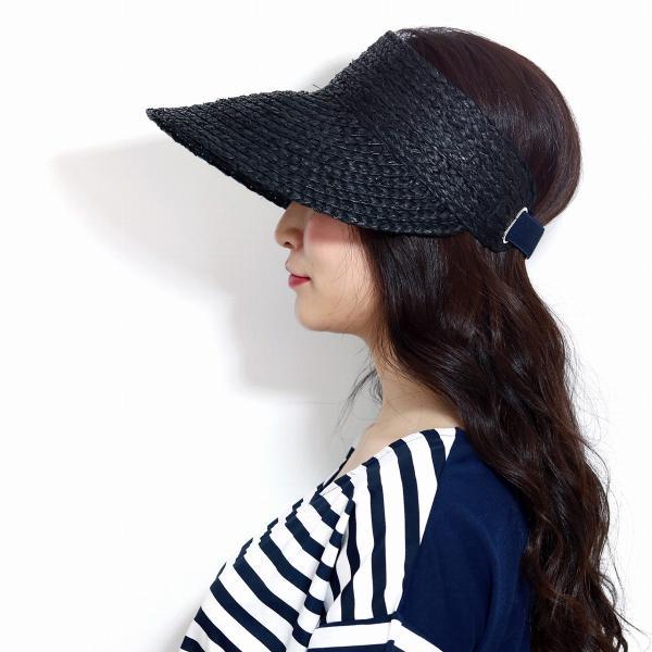 サンバイザー 婦人帽子 麦わら帽子 バイザー 春夏 日よけ ラフィア ブレード 天然草 モデリア レディース 春 夏 帽子 黒 ブラック