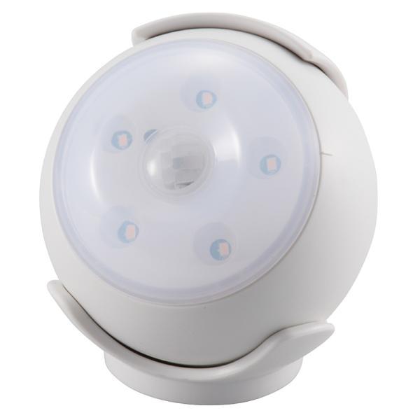 オーム電機 LEDセンサーライト 人感・明暗センサー 屋内用 ホワイト LS-B15-W 06-1630