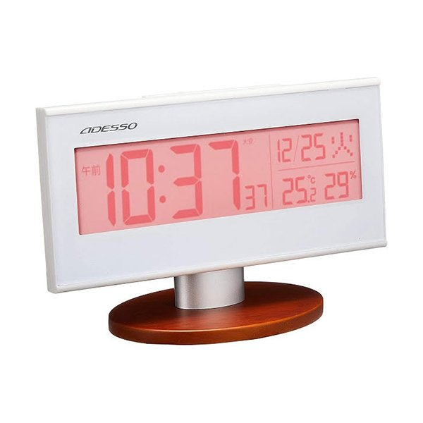 ADESSO アデッソ 電波時計 目覚まし時計 AX-200PK デジタル ウォッチ 壁掛け 温度計 湿度計 アラーム スヌーズ 置き時計 新品 送料無料