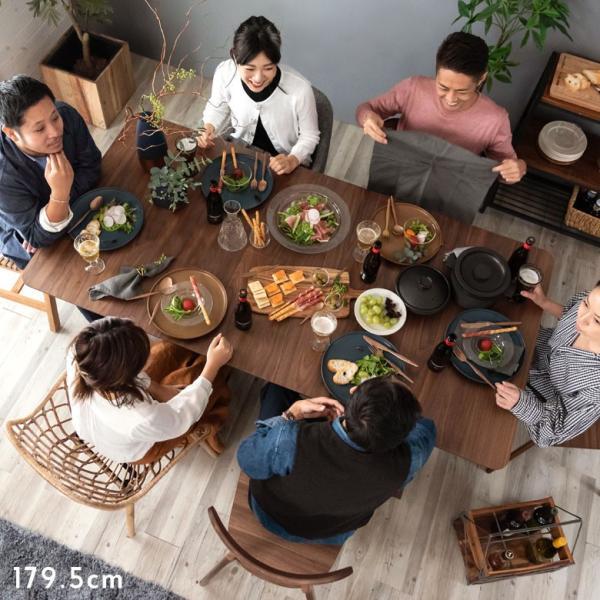 テーブル ダイニングテーブル 伸縮 天然木 机 4人掛け 6人掛け 食卓 エクステンション テーブル リビング  ウォールナット 折りたたみ 家具 来客 北欧 おしゃれ|elements|08