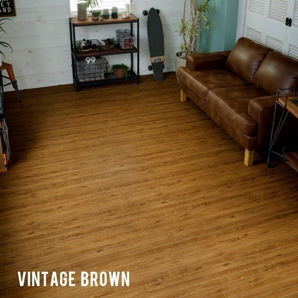 ウッドカーペット 6畳 江戸間 260×350cm 床材 フローリングカーペット DIY 簡単 敷くだけ 特殊エンボス加工 ヴィンテージ 1梱包 elements 06