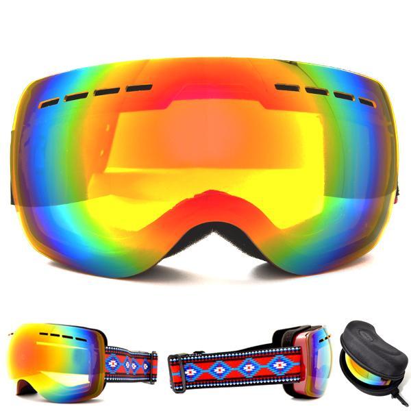 送料無料 スノーボード ゴーグル ケース付き フレームレス メンズ レディース ミラー 球面 ダブルレンズ SNOWBOARD GOGGLE スキー スノボ|elephant