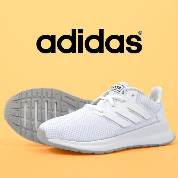 アディダススニーカーレディースadidasFALCONRUNKファルコンラン学校通学シューズ靴3本ラインホワイト白F36548