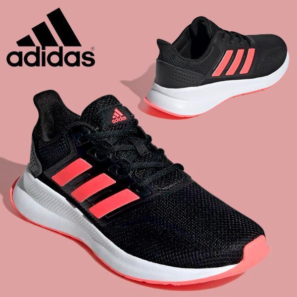 アディダススニーカーランニングシューズレディースadidasFALCONRUNKシューズ靴ブラック黒ピンクEG2545FV944