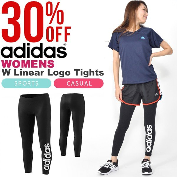 c6b96ef63e39a7 30%OFF ロングタイツ アディダス adidas W リニアロゴ タイツ レディース レギパン レギンス ランニング トレーニング インナー