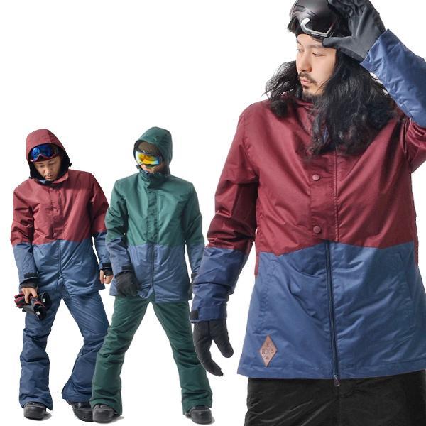 処分品 スノーボード ウェア メンズ バイカラー 切り替え 2トーン ジャケット スノーウエア SNOWBOARD|elephant