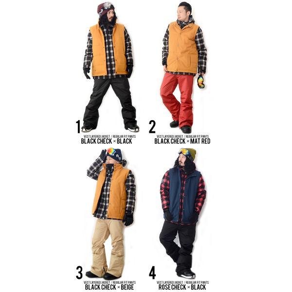 スノーボードウェア 上下 セット メンズ ベスト付き ジャケット 3Way 取外し可能 Vest Jacket スノーウエア ウエア  SNOWBOARD  上下組 2点セット|elephantsports|03